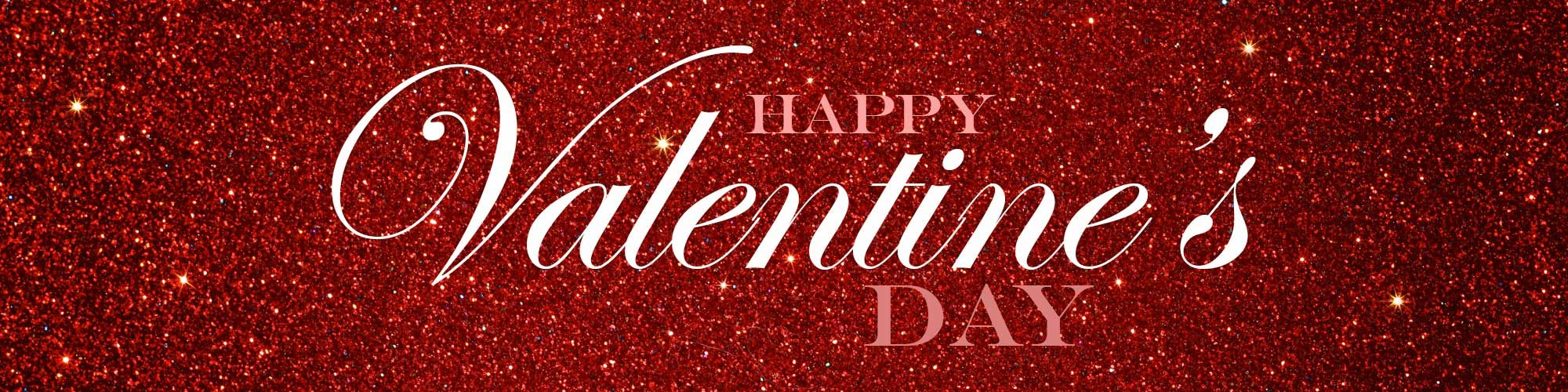 Happy Valentine's Day over Red Sparkle Background